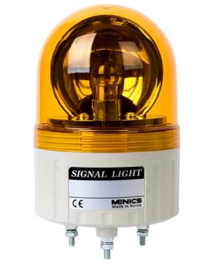 Вращающийся сигнльный маяк желтого цвета серии ASGB-20-Y с питанием 220 вольт и лампой накаливания.