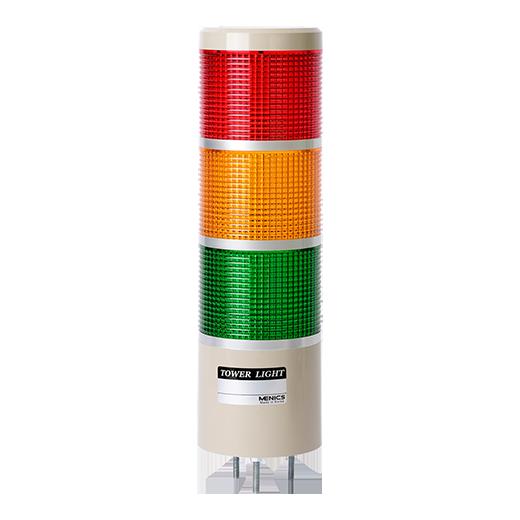 Световая колонна MP8C-F300-RYG на 12-24 вольта с красным, желтым и зеленым плафоном и светодиодными лампами.