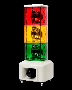Светосигнальная колонна с красным, желтым и зеленым свечением и звуковым сигналом MSGS-302-RYG.