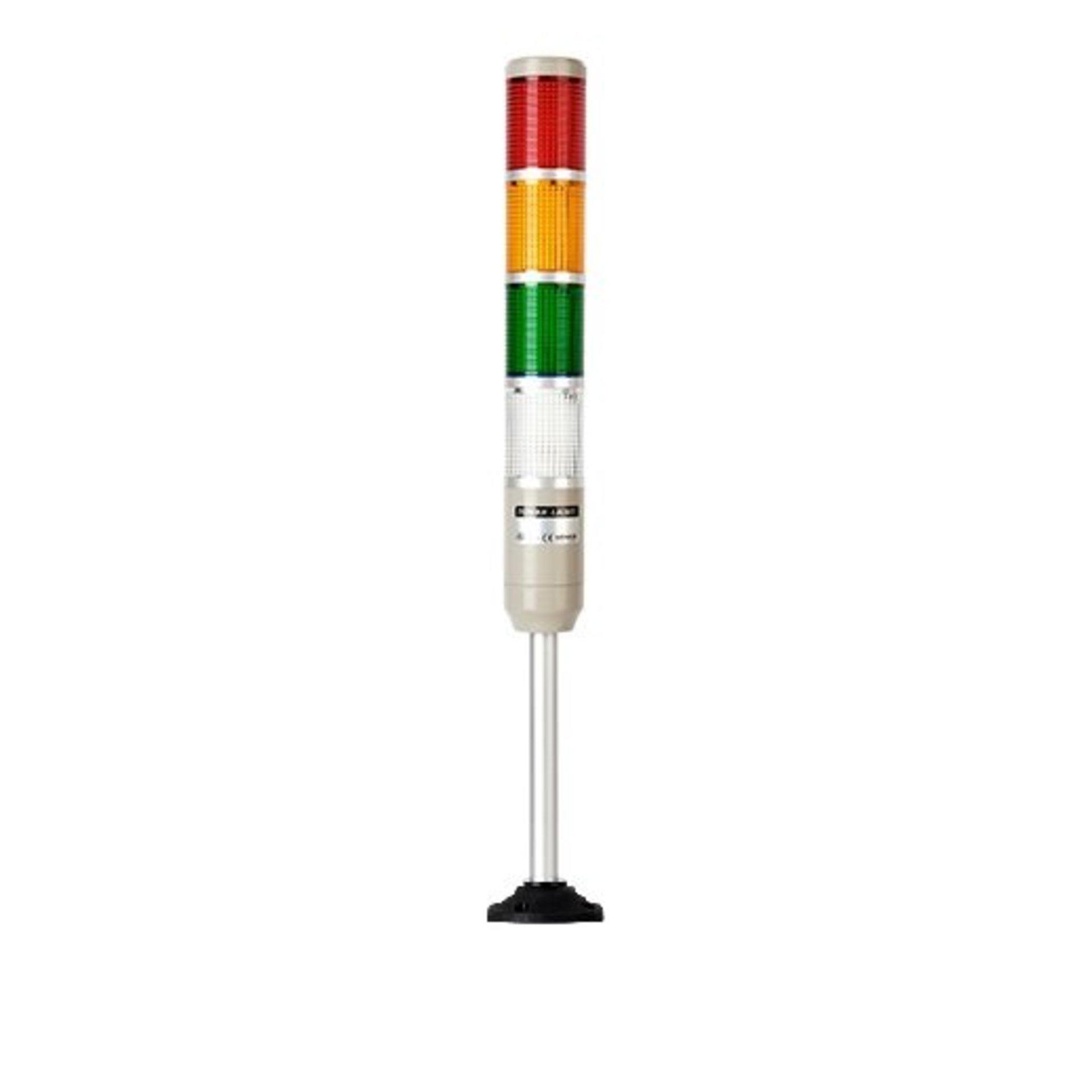 Светосигнальная колонна MT5B-4ALP-RYGC постоянного свечения красного, желтого, зеленого, белого цвета с питанием 24 вольта.
