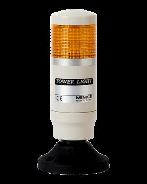 Светосигнальная колонна PMEG-102-Y с светодиодным индикатором и плафоном желтого цвета на 24 вольта.