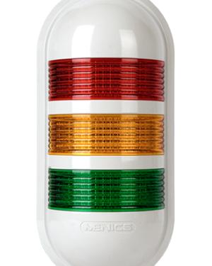 Индикаторные светильники постоянного свечения с питанием 24 вольта PWE-302-RYG с красным, желтым и зеленым свечением.