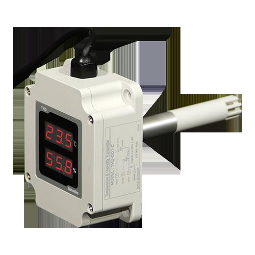 Датчик температуры и влажности THD-DD, крепеж на трубу, 200 мм чувствительный элемент, 3-значный дисплей, выход RS485 (Modbus RTU), 24В=, 24В=