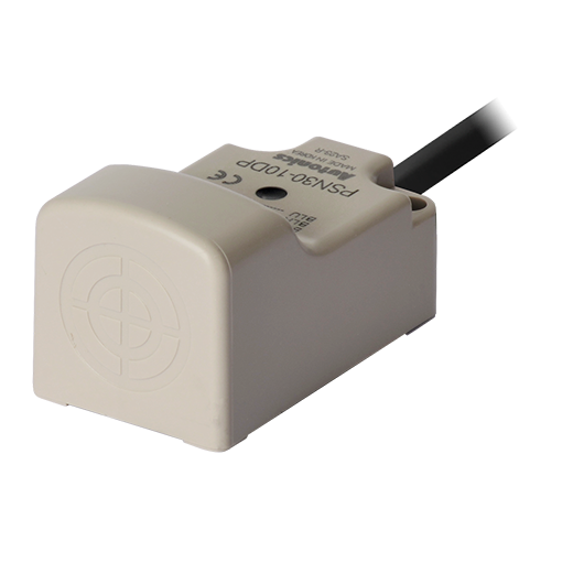 Датчик приближения в прямоугольном корпусе серии PSN30-10DP. Тип кабеля и питание : 3-проводной 12-24V DC