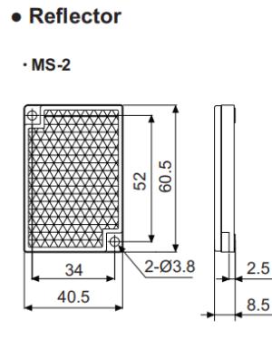 Зеркальный отражатель для фотодатчика MS-2 размер 40.5x60.5мм