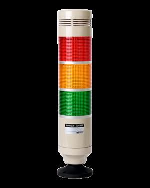 Сигнальная колонна с постоянным и мигающим свечением, зуммером MP8G-B300-RYG на 12-24 вольта. С красным, желтым и зеленым плафоном.
