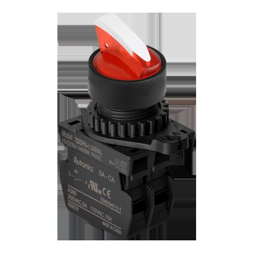 Управляющие переключатели S2SRN-L1ARAL на 2 положениями с возвратом красного цвета
